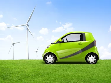 Bigstock Electric Green Car In The Outd 64612630